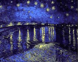 Картина по номерам Звездная ночь над Роной. Худ. Винсент Ван Гог, 40x50 см., Babylon