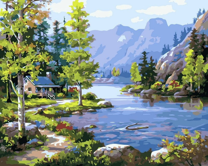 Картина по номерам Домик у ручья. Худ. Ким Сунг, 40x50 см., Babylon