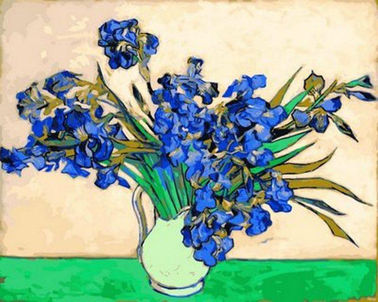 Картина по номерам Ваза с ирисами. Худ. Винсент Ван Гог, 40x50 см., Babylon