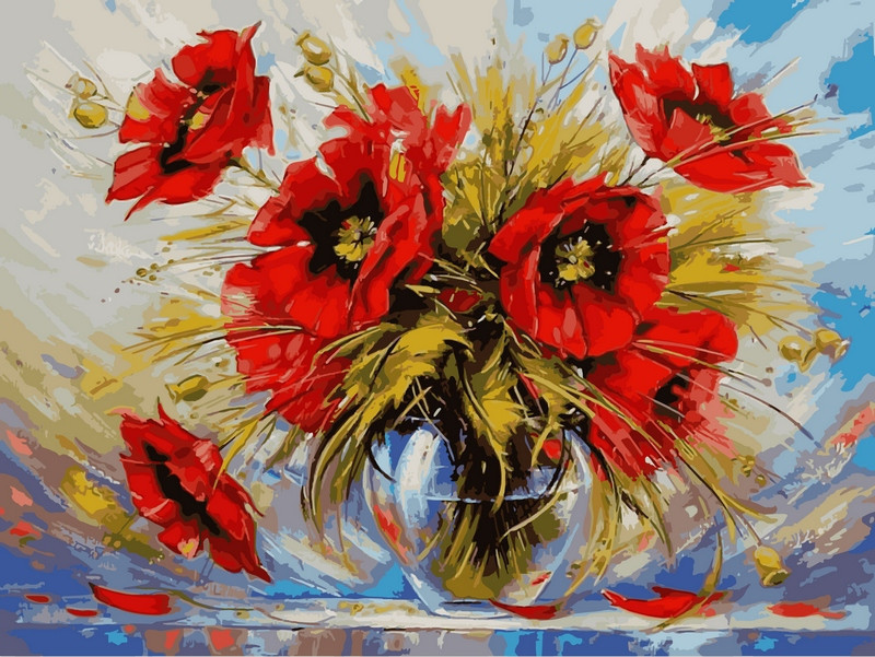 Картина по номерам  Маки в стеклянной вазе. Худ. Зиновий Сыдорив , 40x50 см., Babylon