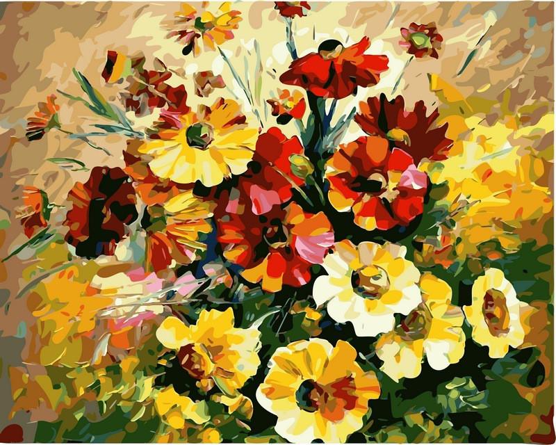 Картина по номерам Букет ярких цветов. Худ. Леонид Афремов, 40x50 см., Babylon
