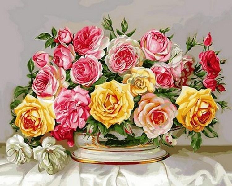 Картина по номерам Розовое великолепие, 40x50 см., Babylon