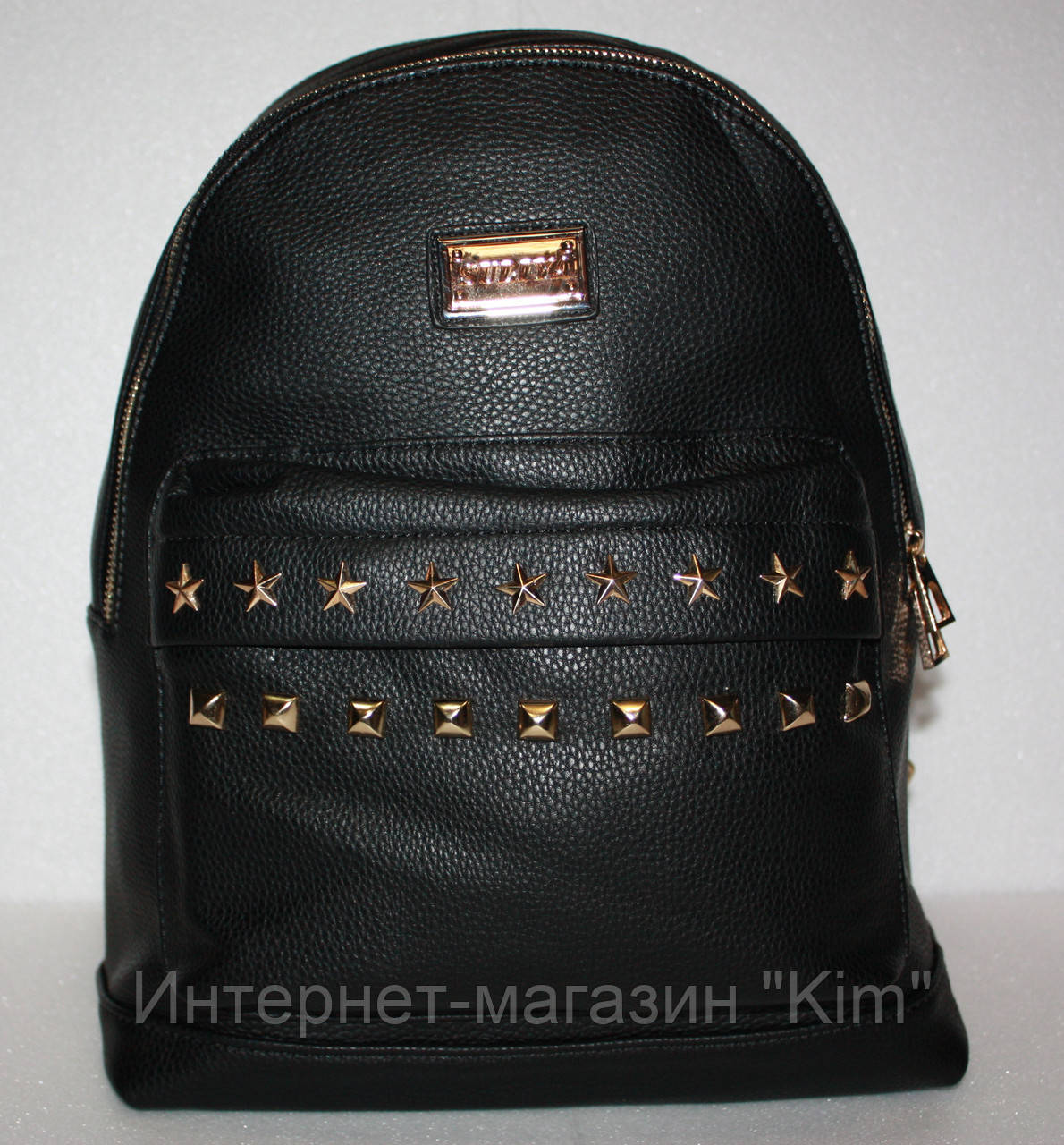 002a6001067a Школьный рюкзак женский экокожа черный со звездами: продажа, цена в ...