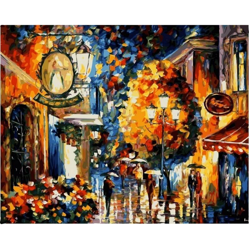 Картина по номерам Кафе в старом городе. Худ. Леонид Афремов, 40x50 см., Babylon