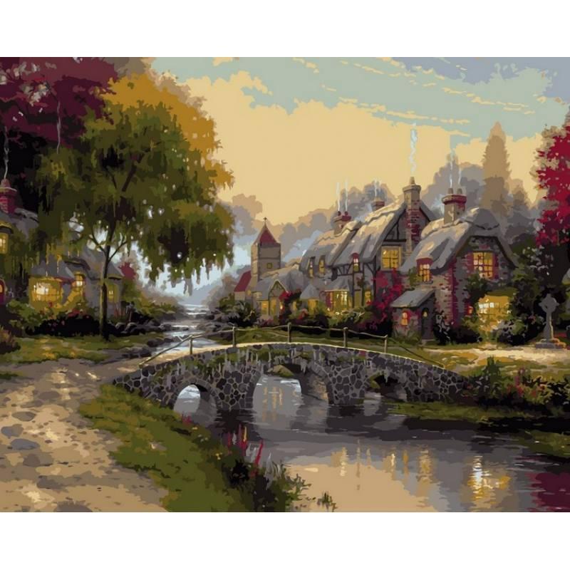 Картина по номерам Каменный мост. Худ. Томас Кинкейд, 40x50 см., Babylon