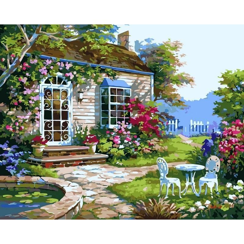 Картина по номерам Домик в цветах. Худ. Ким Сунг, 40x50 см., Babylon