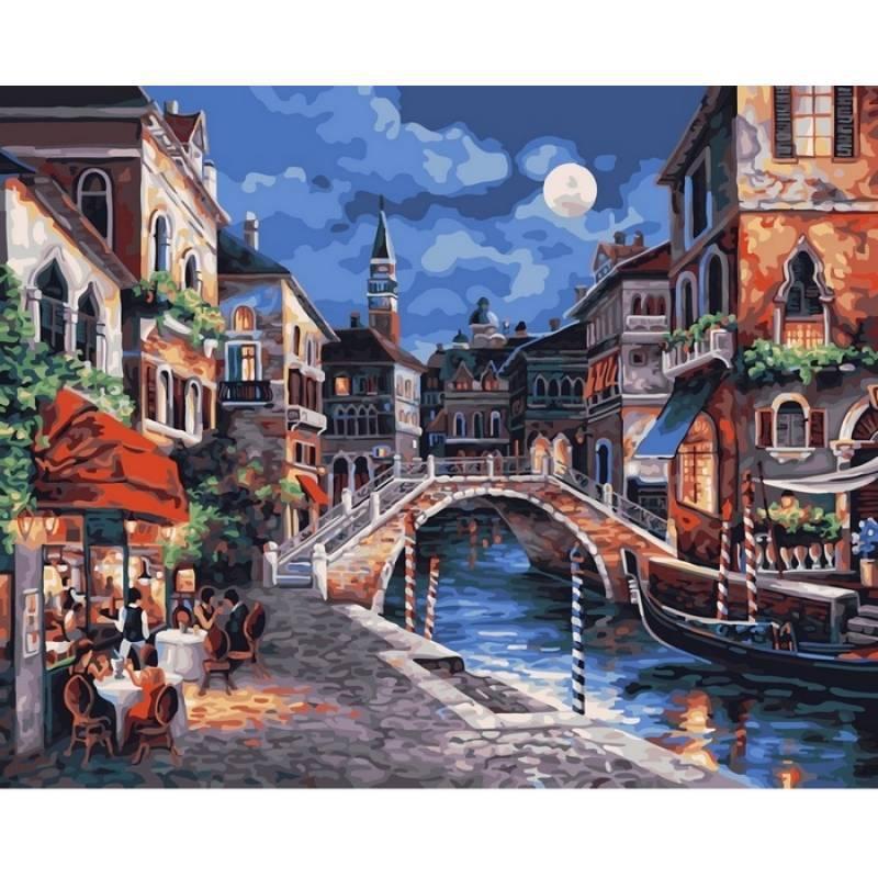 Картина по номерам Венецианская ночь. Худ. Джеймс Ли, 40x50 см., Babylon