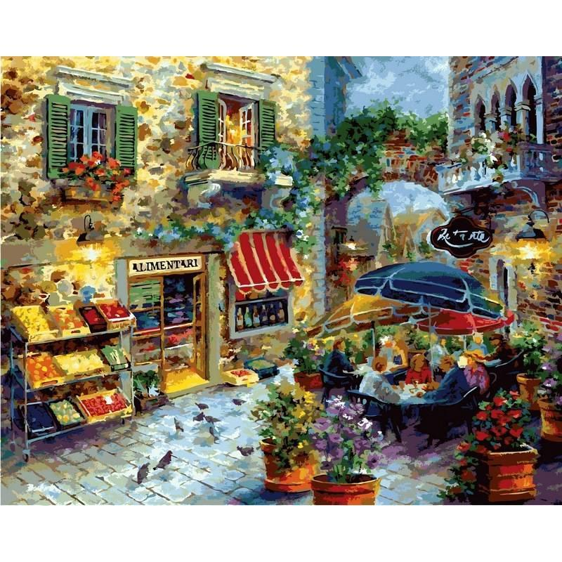 Картина по номерам Городское кафе, 40x50 см., Babylon