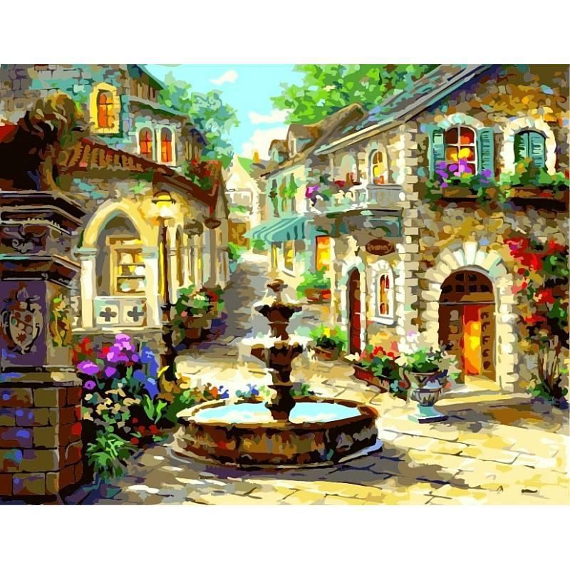 Картина по номерам Фонтан на площади, 40x50 см., Babylon