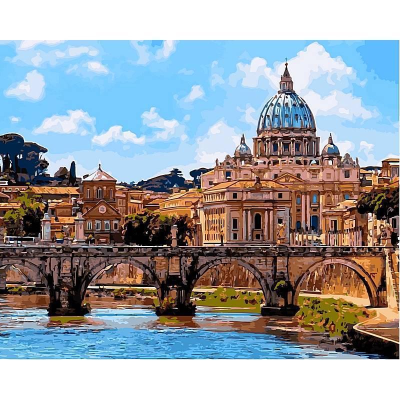Картина по номерам Мост ангелов. Рим, 40x50 см., Babylon