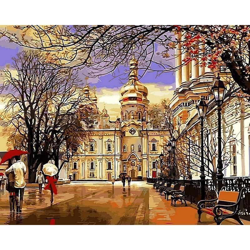 Картина по номерам Дождь. Весна. Лавра. Худ. Сергей Брандт, 40x50 см., Babylon