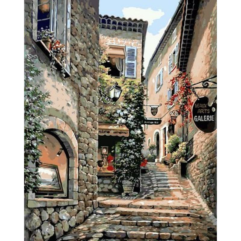 Картина по номерам  Лестницы старого города. Худ. Ким Сунг, 40x50 см., Babylon