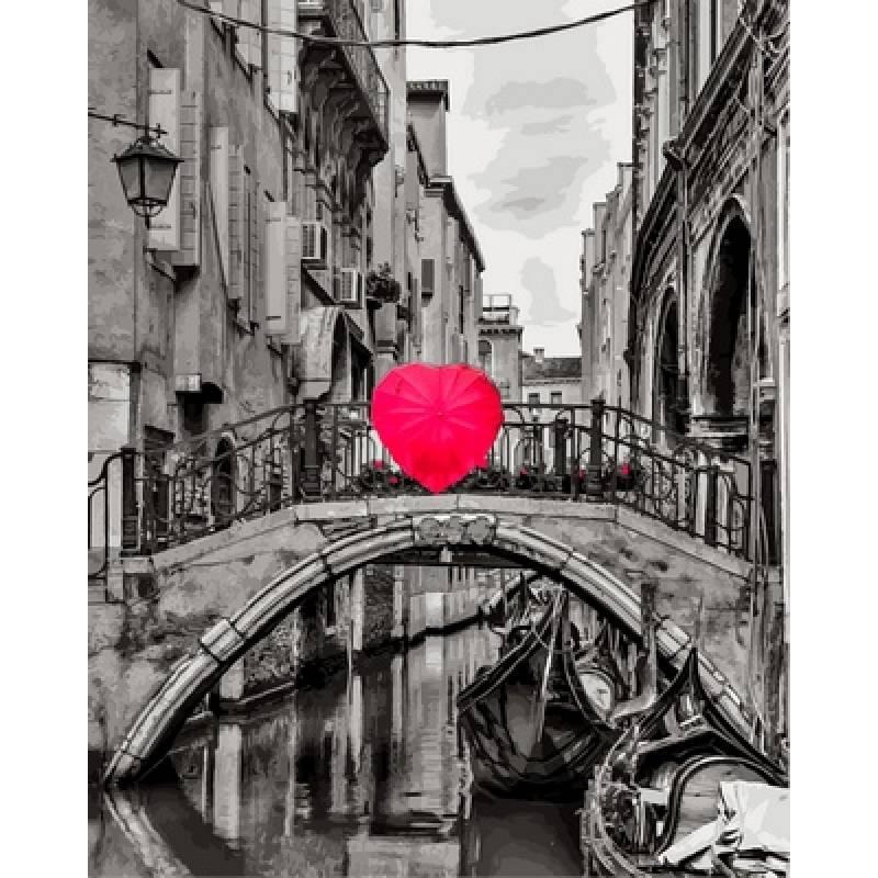 Картина по номерам VP700 Зонт в форме сердца худ. Асаф Франк, 40x50 см., Babylon