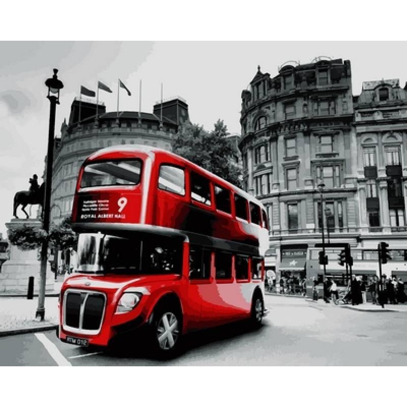 Картина по номерам  Лондонский красный автобус, 40x50 см., Babylon