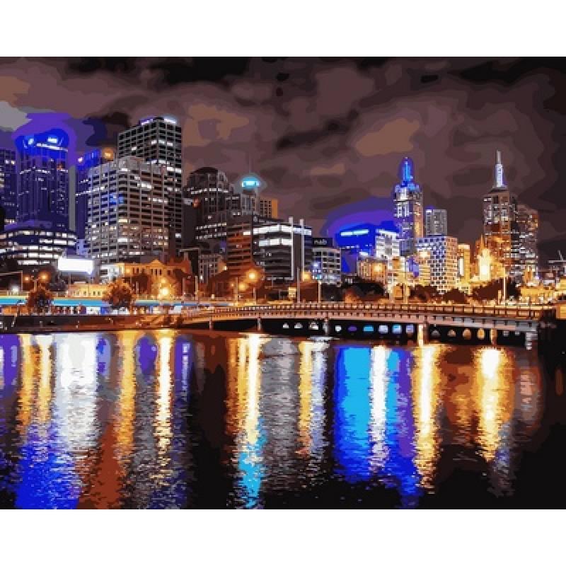 Картина по номерам  Ночной Мельбурн. Австралия, 40x50 см., Babylon