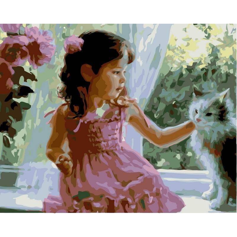 Картина по номерам  Девочка и кот. Худ. Владимир Волегов, 40x50 см., Babylon