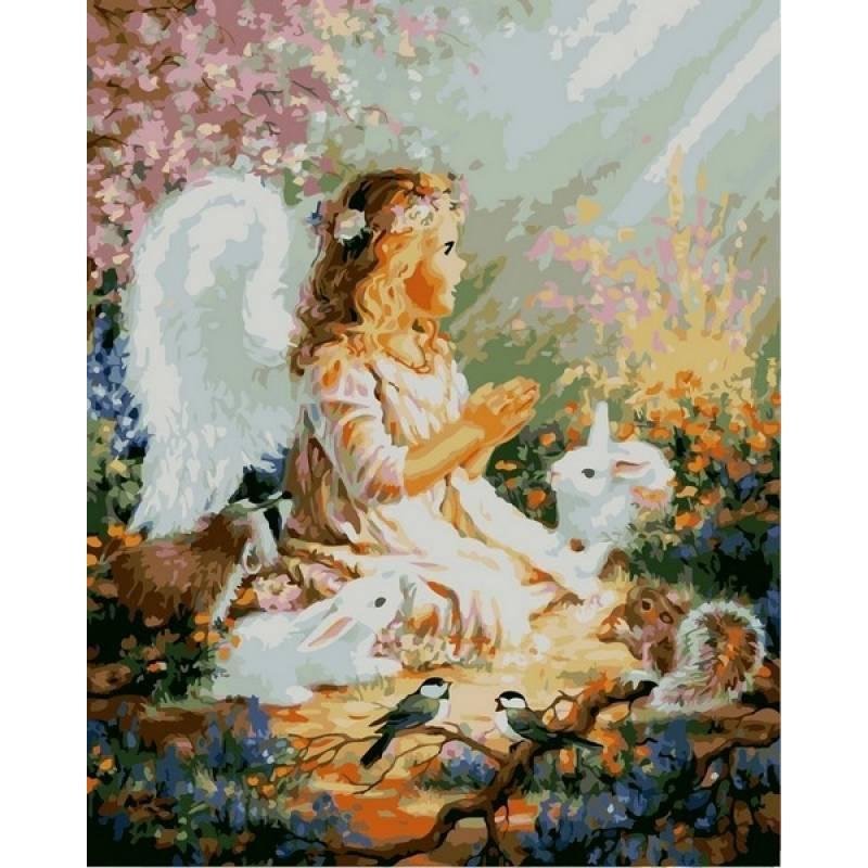 Картина по номерам Ангелок и лесные зверушки, 40x50 см., Babylon