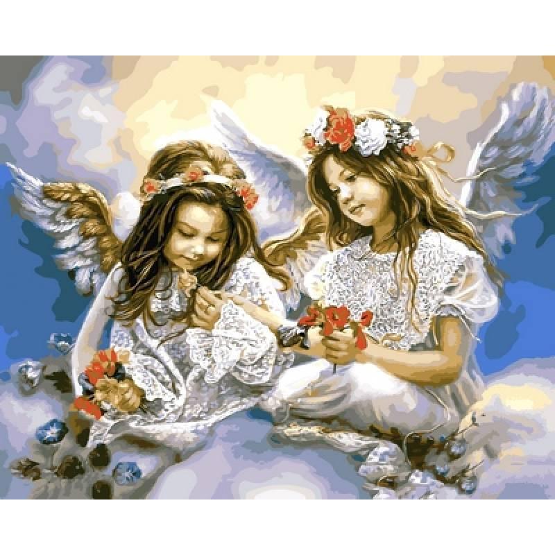 Картина по номерам Ангелочки с маками, 40x50 см., Babylon