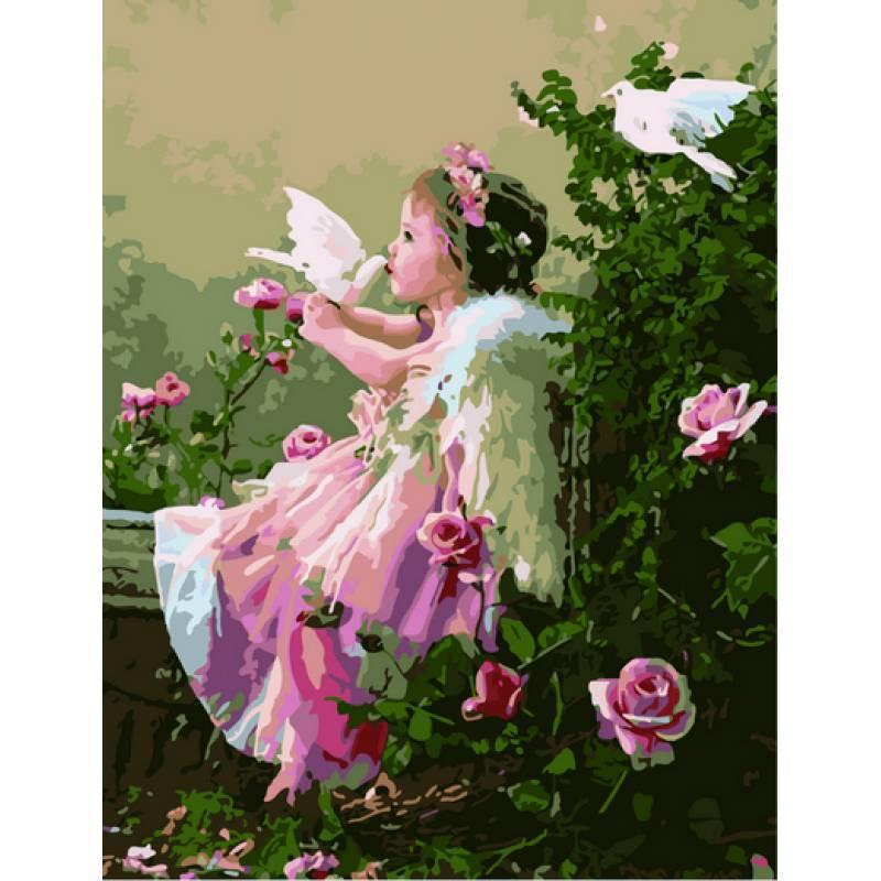 Картина по номерам Ангелочек с голубями. Худ. Слава Грошев, 40x50 см., Babylon