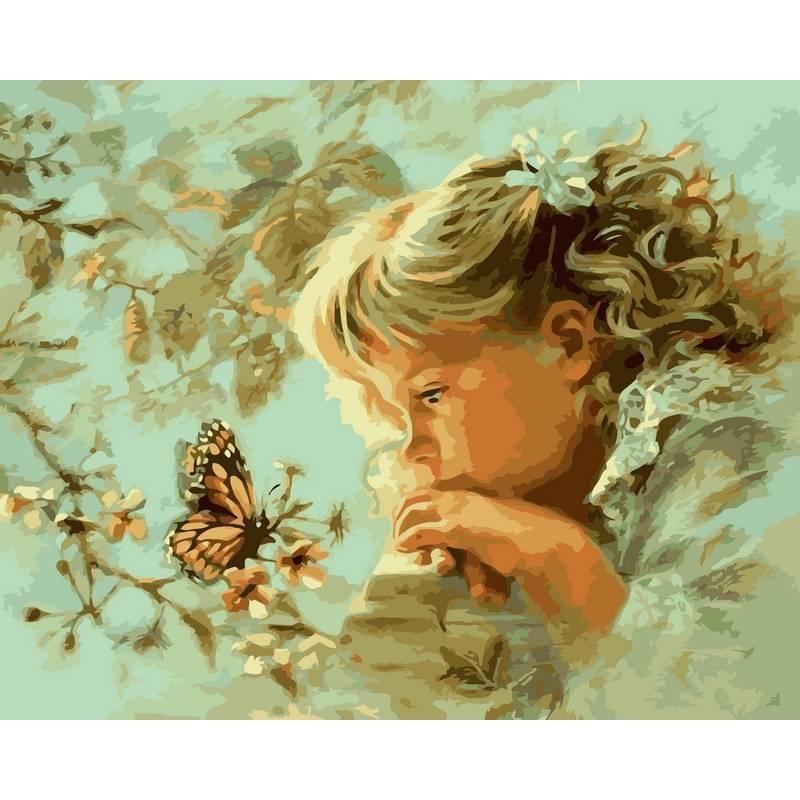 Картина по номерам  Наблюдая за бабочкой. Худ. Эндрюс Кэтрин Финчер, 40x50 см., Babylon