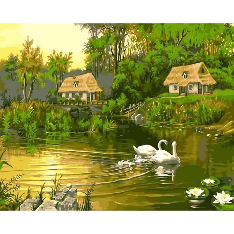 Картина по номерам Лебединая семья, 40x50 см., Babylon