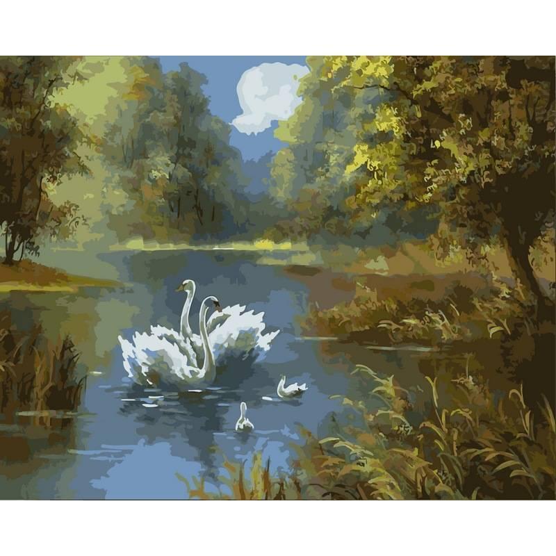 Картина по номерам  Лебединое семейство. Худ. Джеймс Шеппард, 40x50 см., Babylon