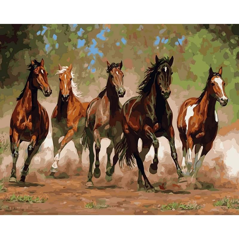 Картина по номерам  Лошади в каньоне. Худ. Крис Каммингс, 40x50 см., Babylon