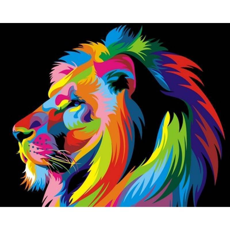 Картина по номерам Радужный лев (профиль). Худ. Ваю Ромдони, 40x50 см., Babylon