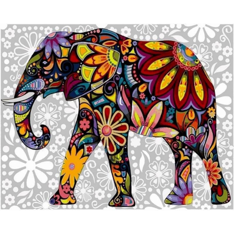 Картина по номерам  Цветочный слон, 40x50 см., Babylon