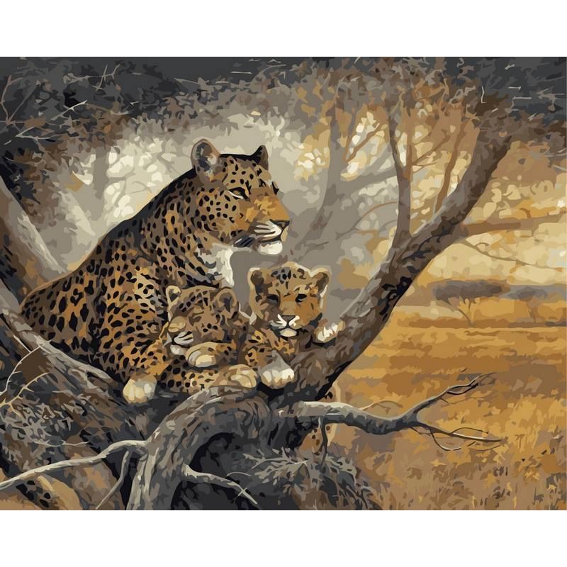 Картина по номерам Леопард с детенышами, 40x50 см., Babylon