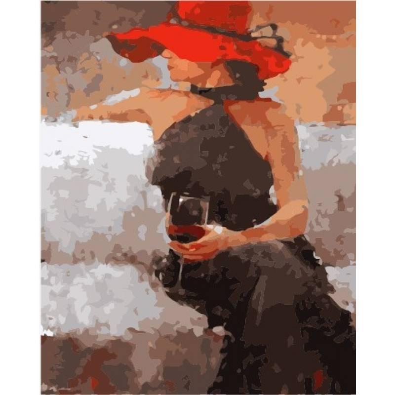 Картина по номерам С бокалом вина, 40x50 см., Babylon