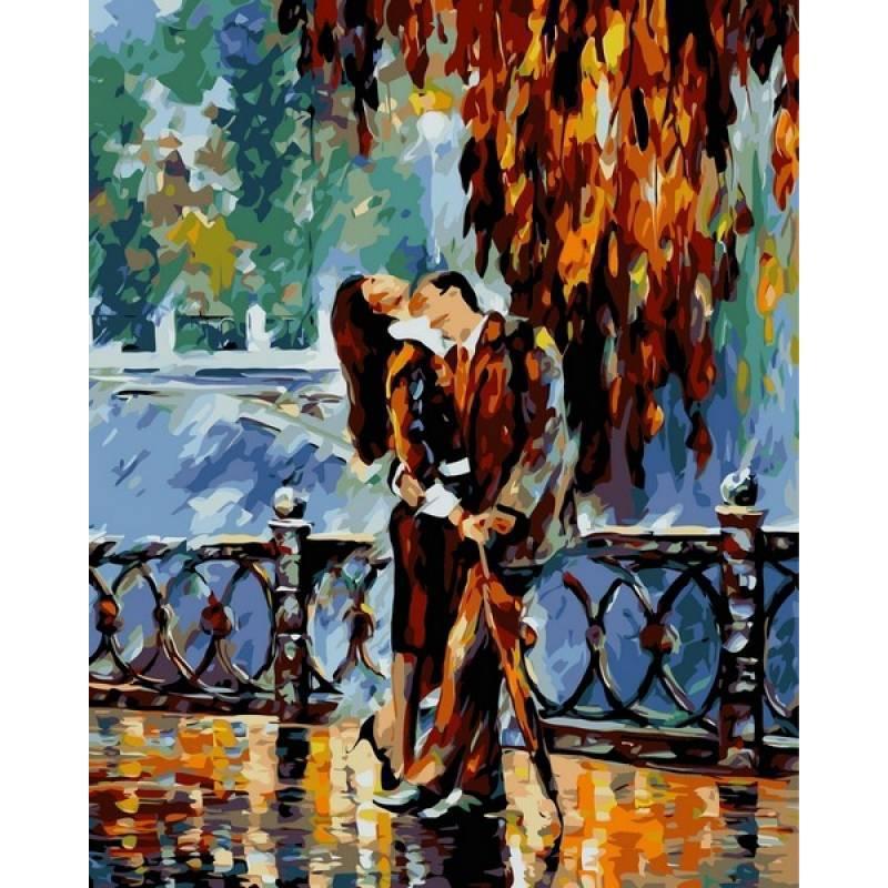 Картина по номерам Поцелуй после дождя. Худ. Леонид Афремов, 40x50 см., Babylon