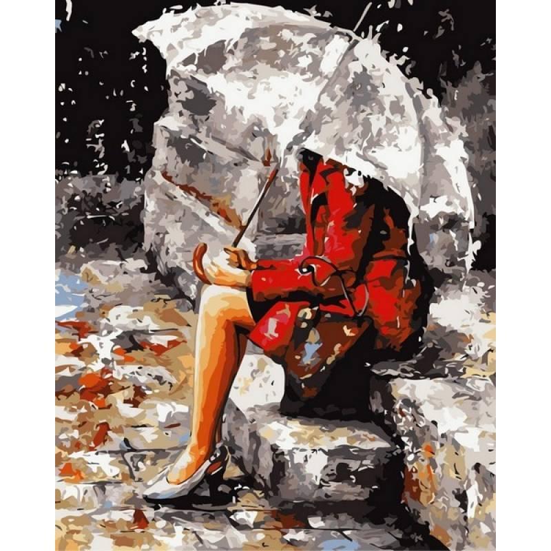 Картина по номерам Размышления под дождем. Худ. Имире Тот, 40x50 см., Babylon