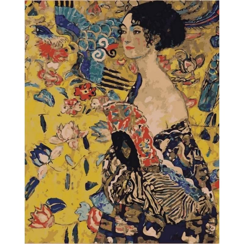 Картина по номерам Дама с веером. Худ. Густав Климт, 40x50 см., Babylon