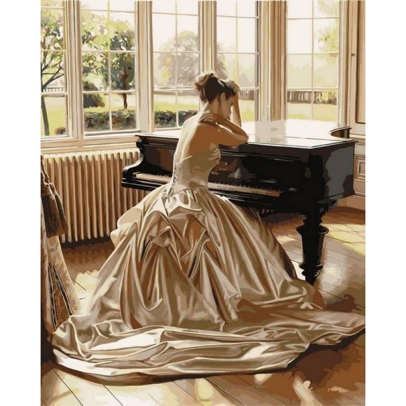Картина по номерам Девушка у рояля. Худ. Роб Хэфферан, 40x50 см., Babylon