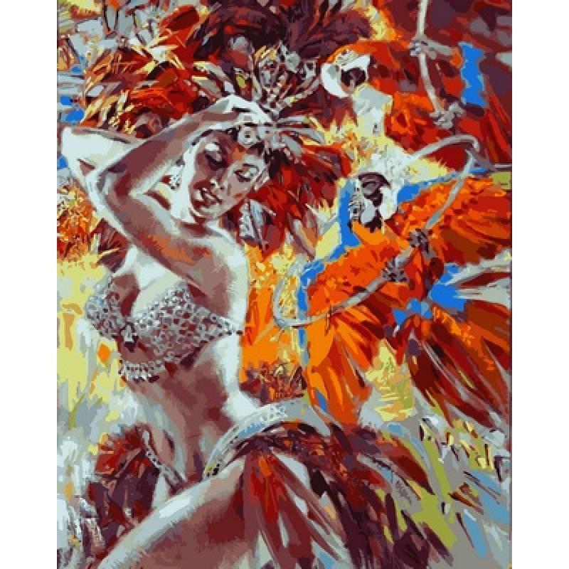 Картина по номерам  Танцовщица и яркие попугаи, 40x50 см., Babylon