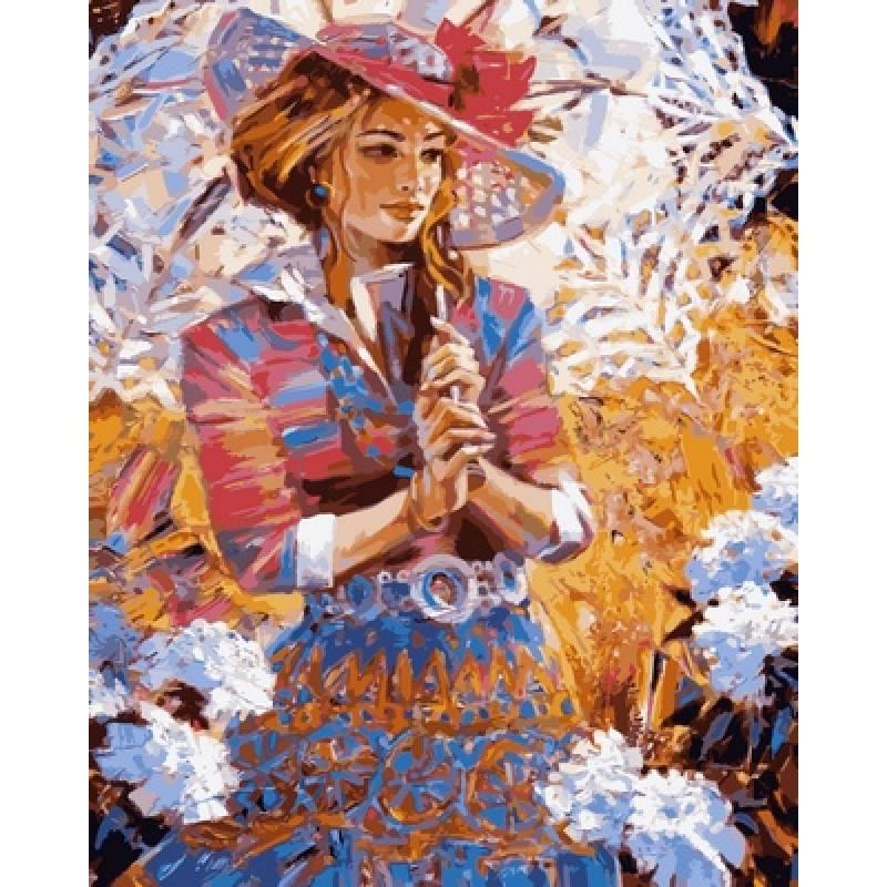 Картина по номерам  Девушка с кружевным зонтом, 40x50 см., Babylon