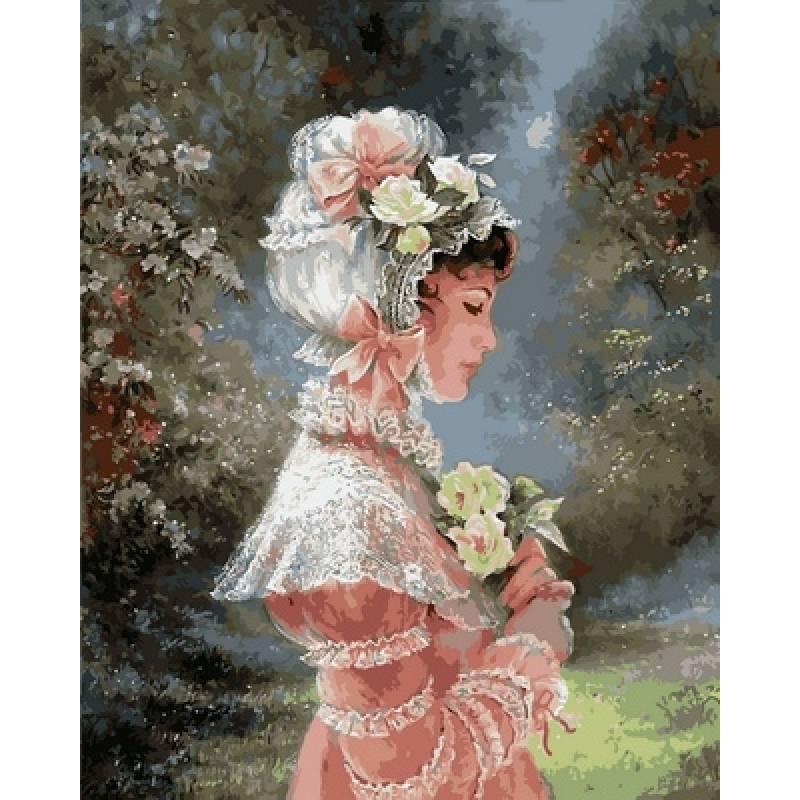 Картина по номерам  Девушка в чепце с лентами, 40x50 см., Babylon