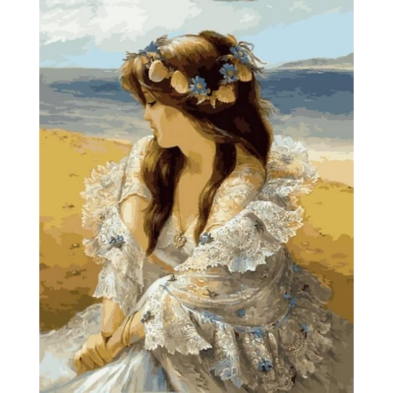 Картина по номерам  Девушка в венке из ракушек. Худ. Алексей Лашкевич, 40x50 см., Babylon