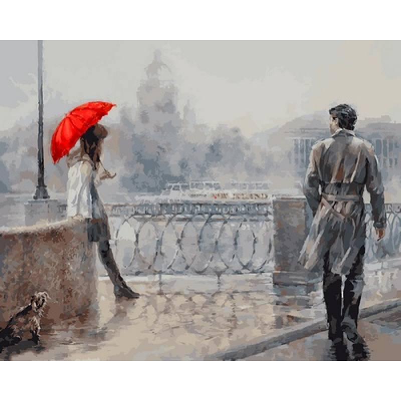 Картина по номерам Незнакомка под алым зонтом. Худ. Ольга Дандорф, 40x50 см., Babylon