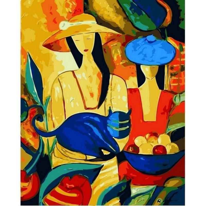 Картина по номерам Дамы в шляпах и кот, 40x50 см., Babylon