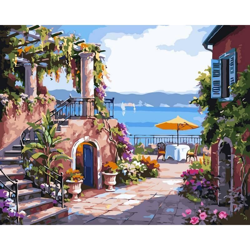 Картина по номерам Тихий дворик. Худ. Ким Сунг, 40x50 см., Babylon