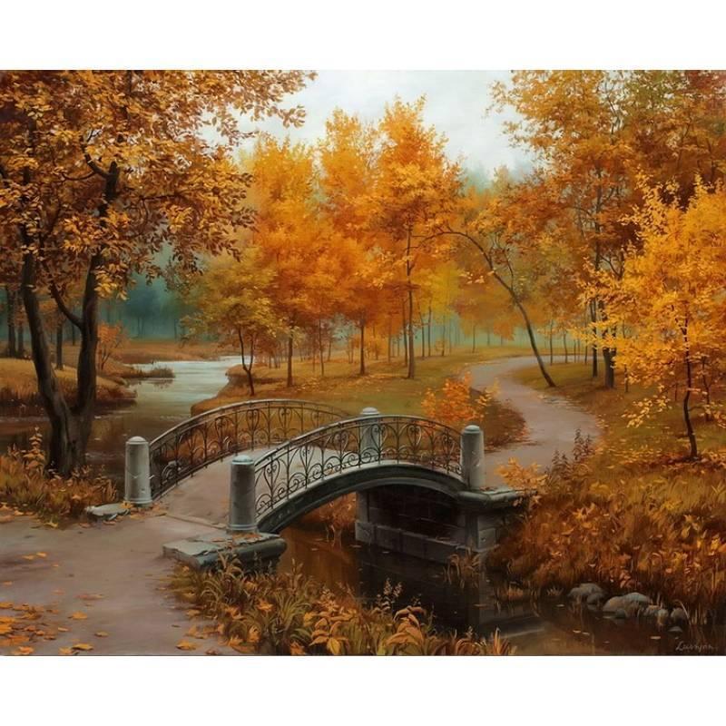 Картина по номерам Мост в осеннем парке. Худ. Евгений Лушпин, 40x50 см., Babylon