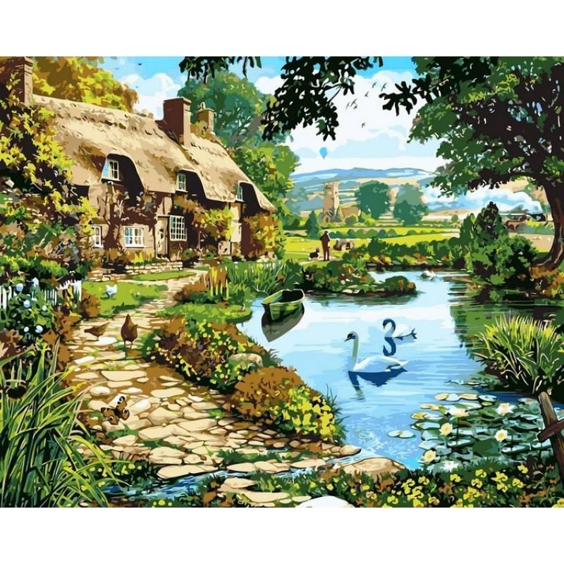 Картина по номерам Коттедж у озера, 40x50 см., Babylon