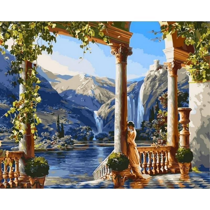 Картина по номерам Девушка у водопада. Худ. Михаил Сатаров, 40x50 см., Babylon