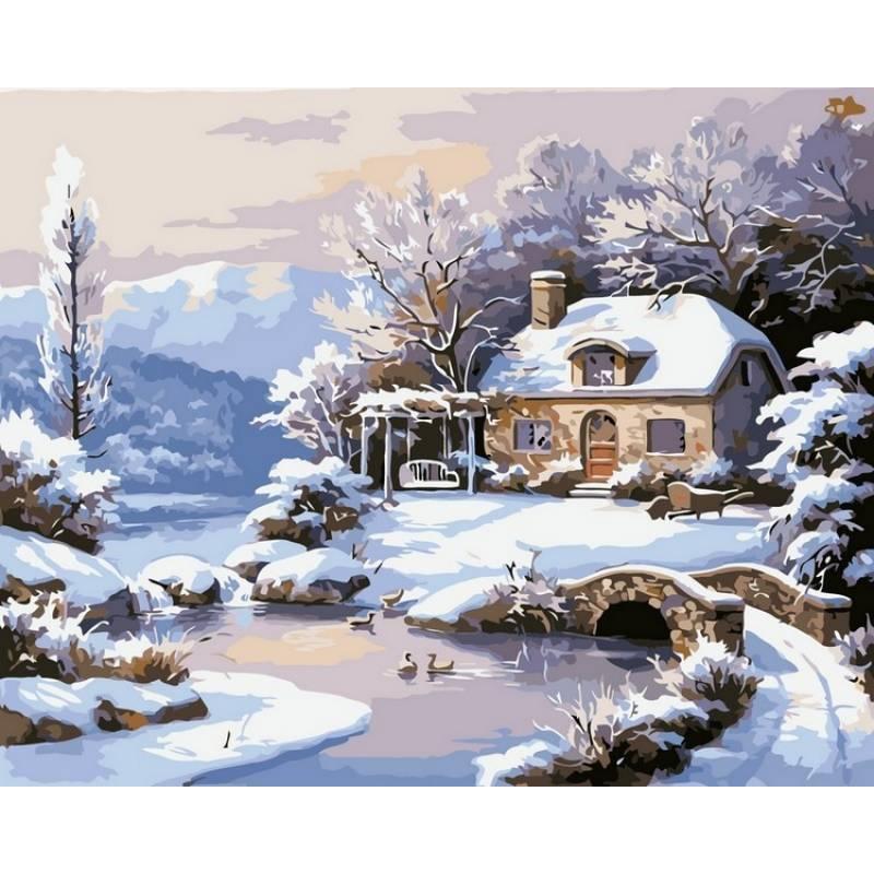 Картина по номерам Зимний домик, 40x50 см., Babylon