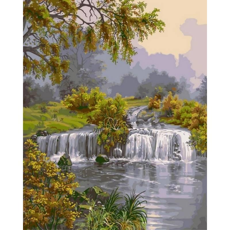 Картина по номерам Река с водопадом, 40x50 см., Babylon