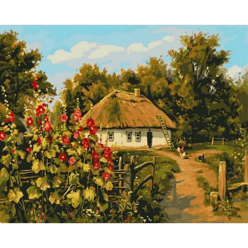 Картина по номерам Сельская хата. Худ. Геннадий Колесной, 40x50 см., Babylon