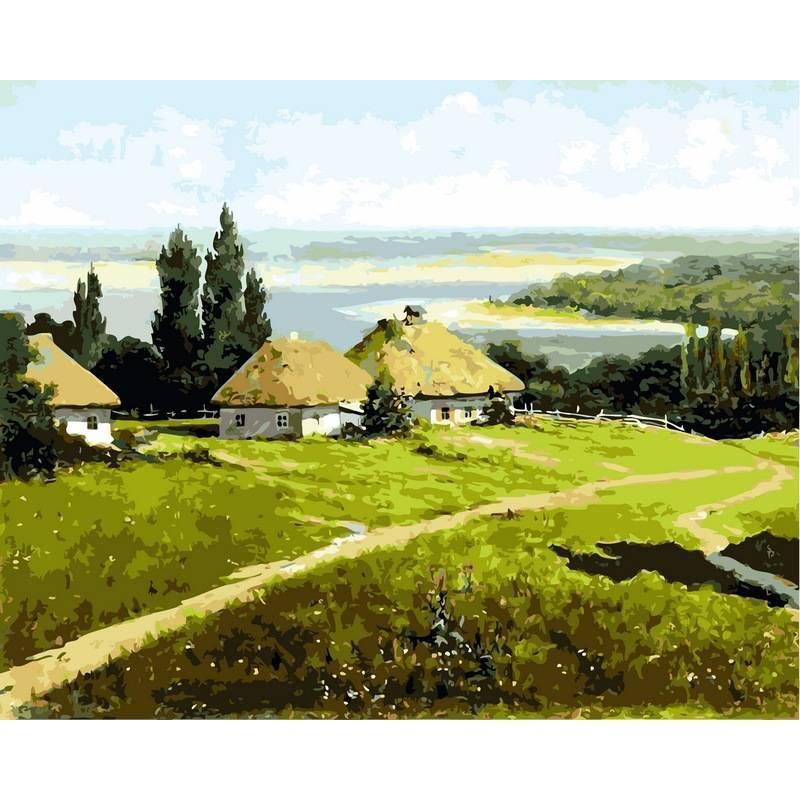 Картина по номерам Украинский пейзаж с хатами, 40x50 см., Babylon