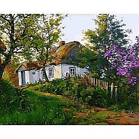 Картина по номерам  Расцвела сирень возле дома. Худ. Геннадий Колесной, 40x50 см., Babylon